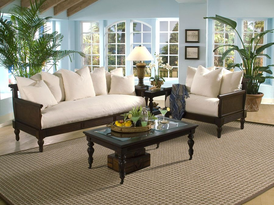 Superbe British Colonial Living Room | Klaussner British Isles Sofa Set  DB77701 Sofa Set | Homelement.com White With Dark Wood