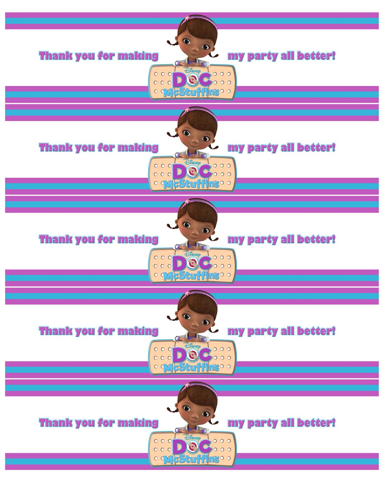 graphic relating to Doc Mcstuffins Printable Labels known as Totally free Drinking water Bottle Label Printables Document McStuffins (1236×1600