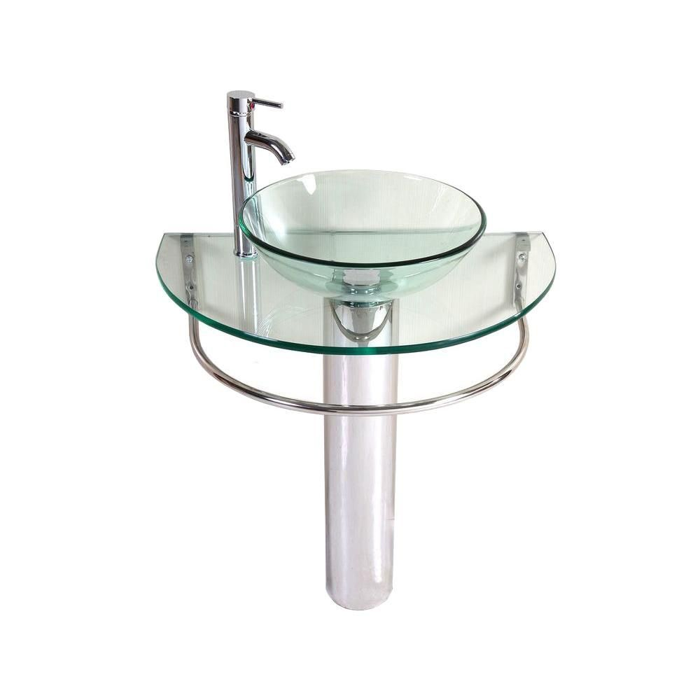 Merveilleux Kailash Pedestal Combo Bathroom Sink In Clear 01