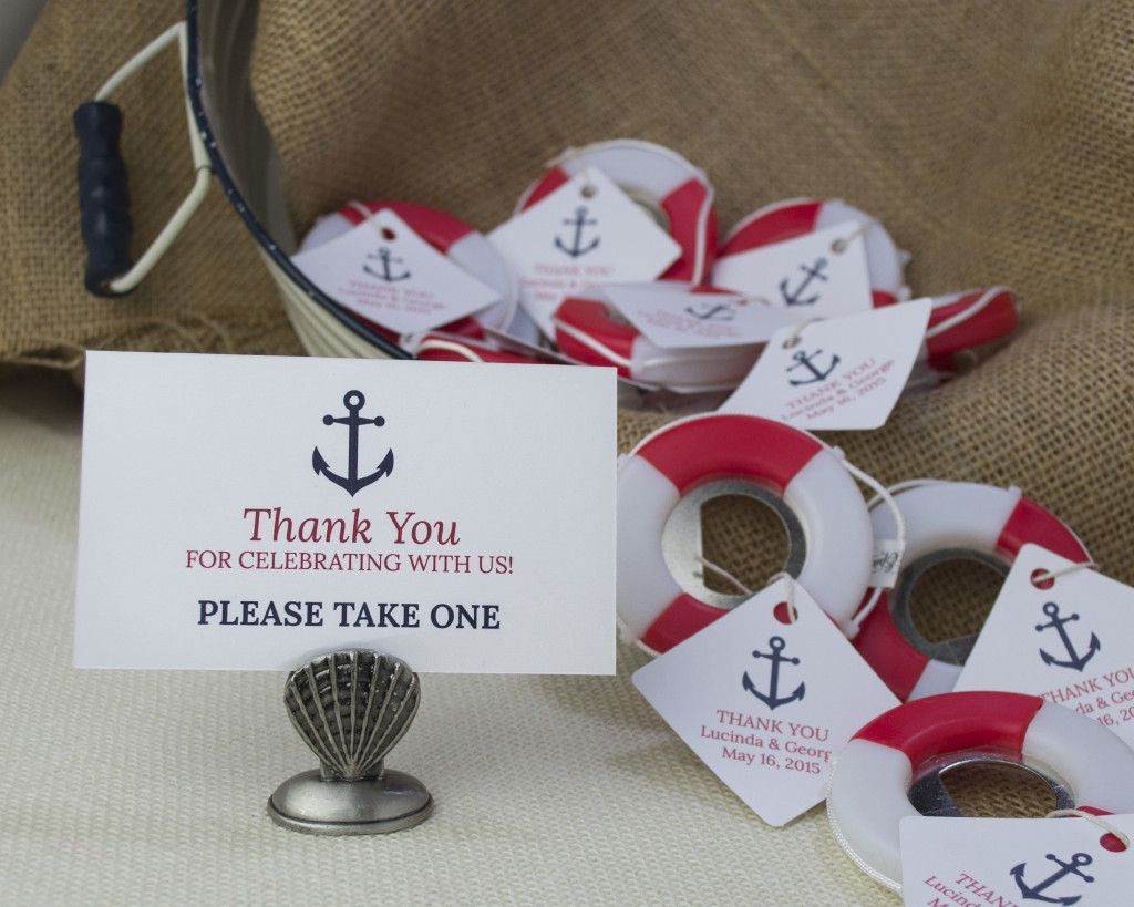 Lifesaver Bottle Opener and Anchor Favor Tag and Escort Card for a beach or nautical wedding or bridal shower. - Beach Front Occasions, www....