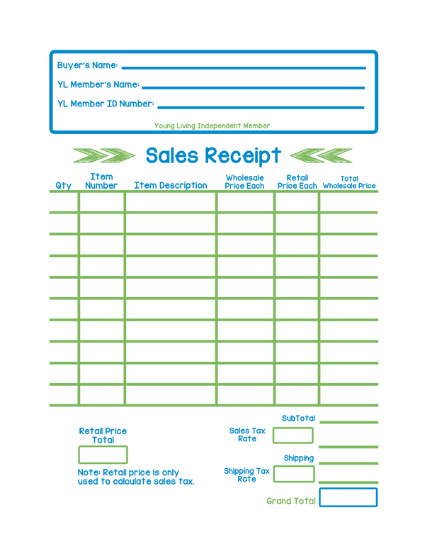 Young Living Sales Receipt: Color Version | Essentially Essential ...