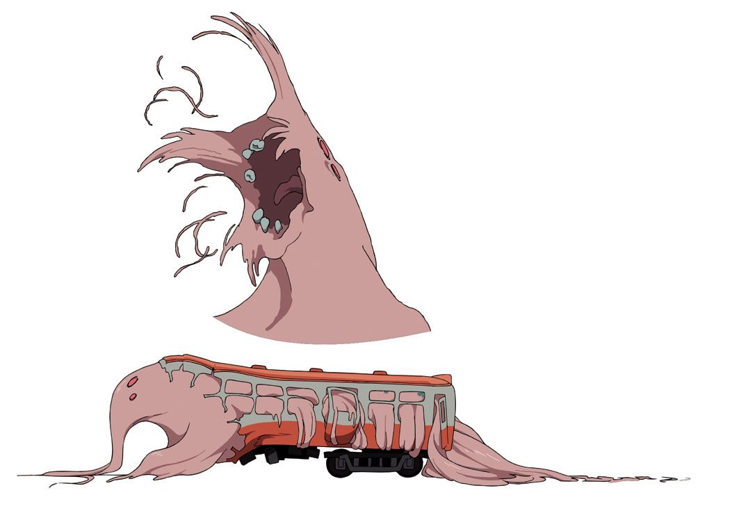 Just when you thought public transportation was safe, BLOOD-C's fake train monster is here to scare you off for good. It's also the first Elder Bairn to speak, appearing in episode 3.