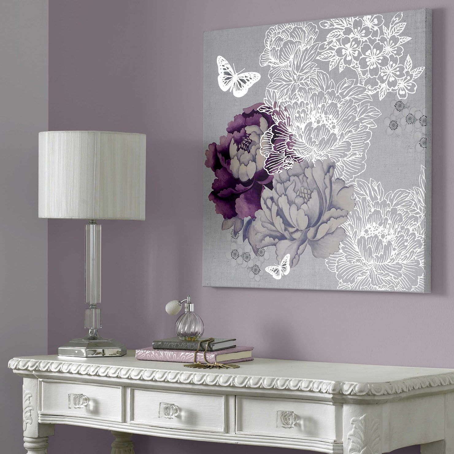 Bedroom Black Metal Lilac Bedroom Curtains White Lace Bedroom Curtains Log Cabin Bedroom Decorating Ideas: Floral Metallic, Wall Art, 60x60cm