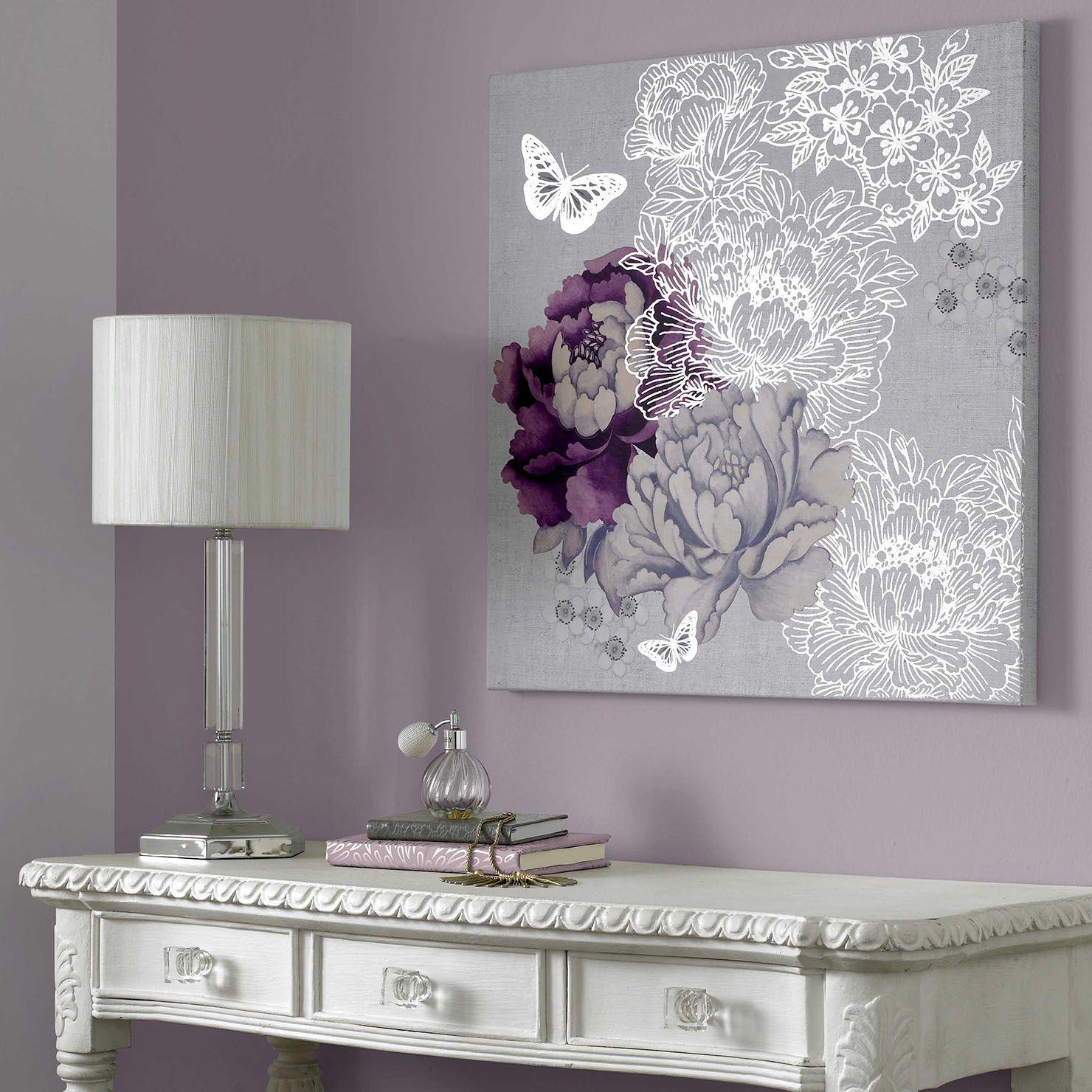 Lilac Bedroom Decor Graham Brown Floral Metallic Canvas Wall Art 60x60cm Grey