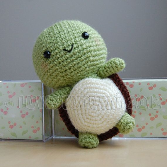 Turtle Amigurumi! *IMPORTANT NOTE* - This is a crochet pattern, not the completed toy.  Its a turtle! Inside or outside of his shell, hes happy either way :)  This