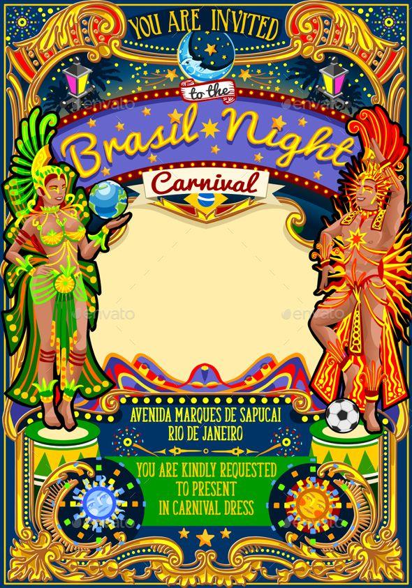 rio carnival poster template brazil carnaval mask show parade