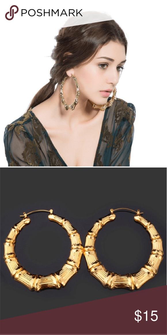 Big Hoop Earrings Gold Tone Bamboo Style Hoops Earrings Outfit Big Hoop Earrings Hoop Earrings Small