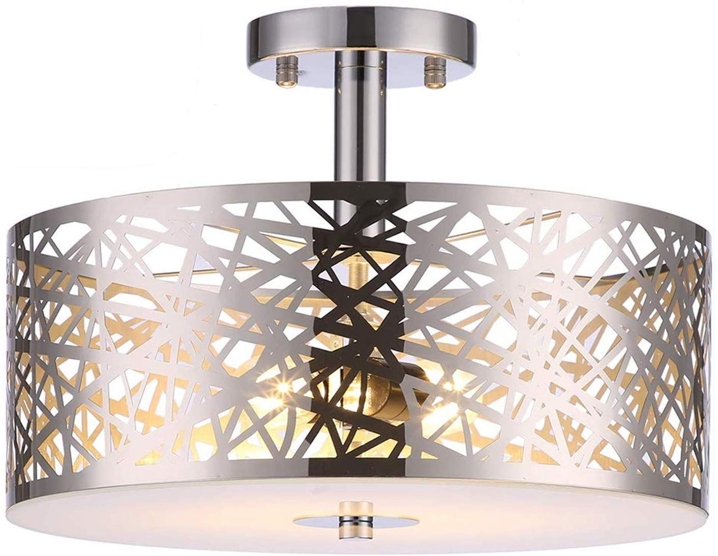 Loclgpm Classic 2 Light Crystal Chrome Finish Semi Flush Mount Ceiling Light You Can Find Mo In 2020 Flush Mount Ceiling Lights Drum Chandelier Chandelier Fixtures