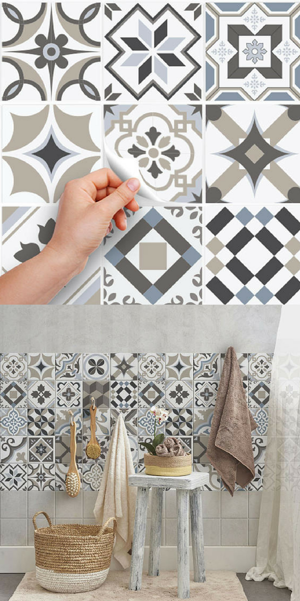 Du Carrelage Adhesif A Coller Pour Relooker La Salle De Bains Imitation Carreaux De Cimen Diy Bathroom Decor Bathroom Remodel Designs Bathroom Design Layout
