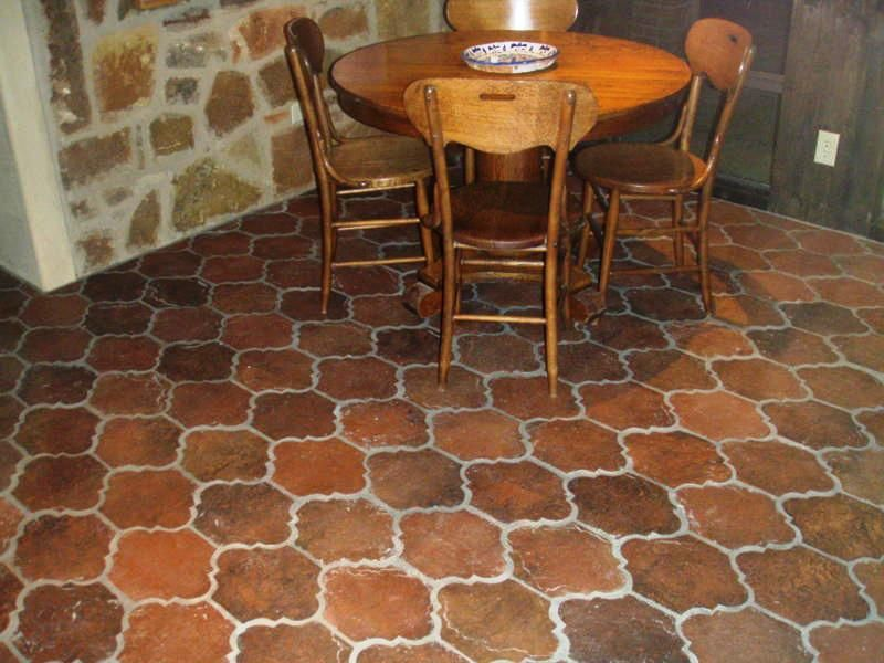 Antique Terra Cotta Tile In Kitchen Installed With Only The San Felipe Shape Natural Color Variation Is Vibrant Next To Rock Walls Of This Home