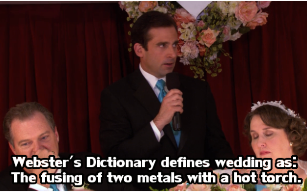 When he screwed up his definitions at Phyllis's wedding