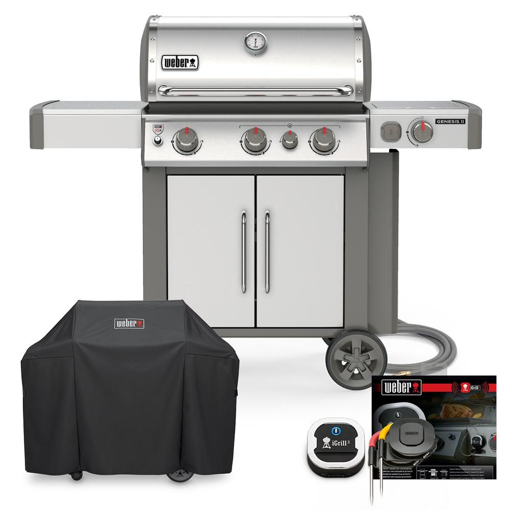 Weber Genesis Ii S 335 Natural Gas Grill Combo With Cover And Igrill 3 18097 The Home Depot Grilling Natural Gas Grill Propane Grill
