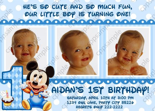 Baby Mickey Mouse Birthday Invitation by CreativePartyPixels – Baby Mickey 1st Birthday Invitations