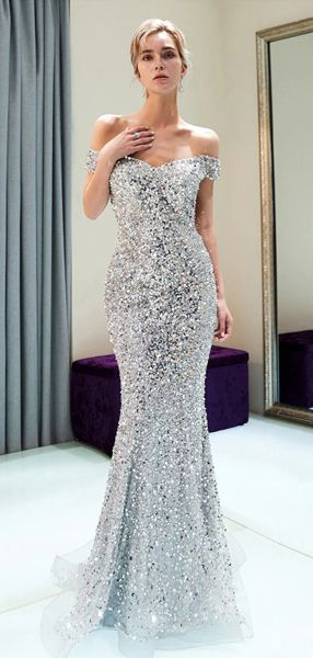 7eeef189dabd Sparkly Off Shoulder Mermaid Silver Beaded Backless Sequin Prom Dresses,  FC1779 #promdress #eveningdresses #promdresses