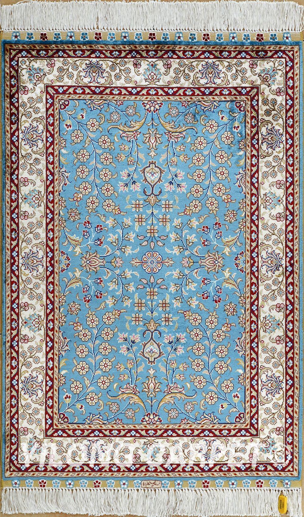 Blue Persian Rug Carpet Yellow Color Pink Beige Material Four Seasons Prayer Knots