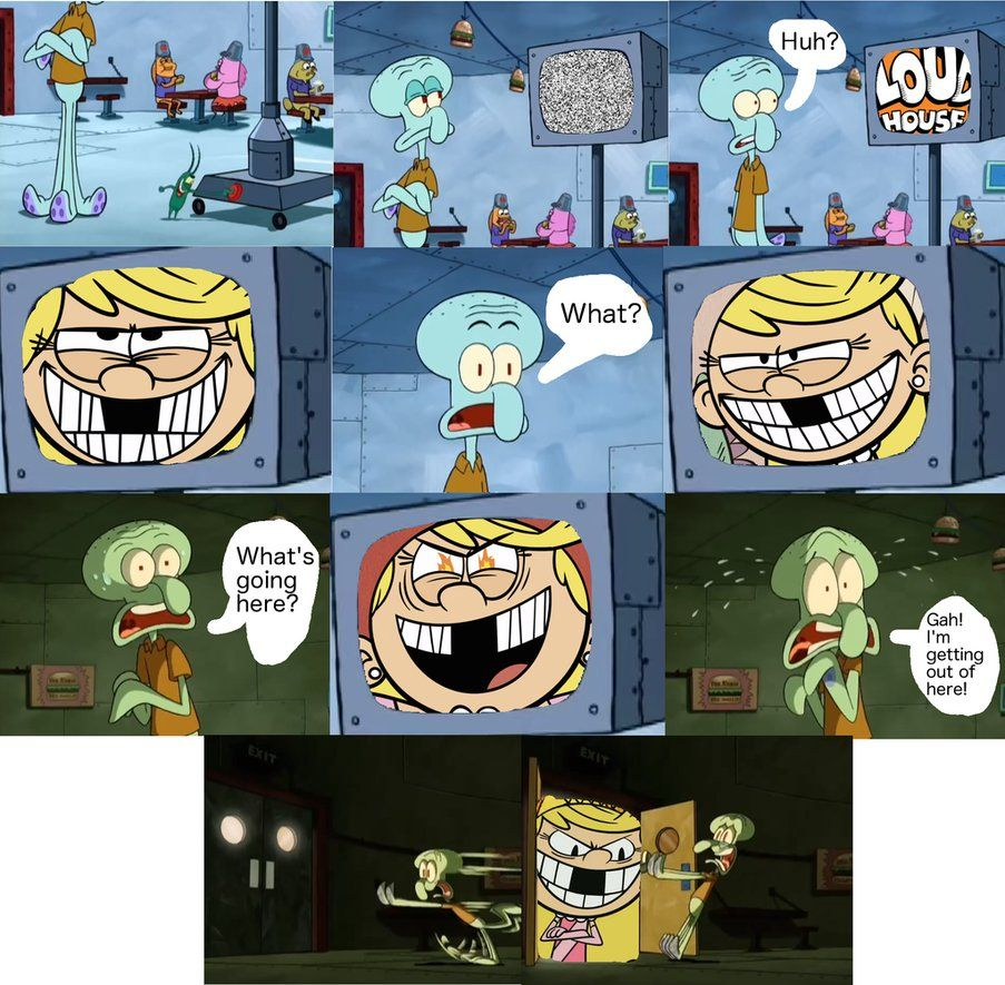 Squidward Is Too Scared Of Lola Loud By Funnytime77