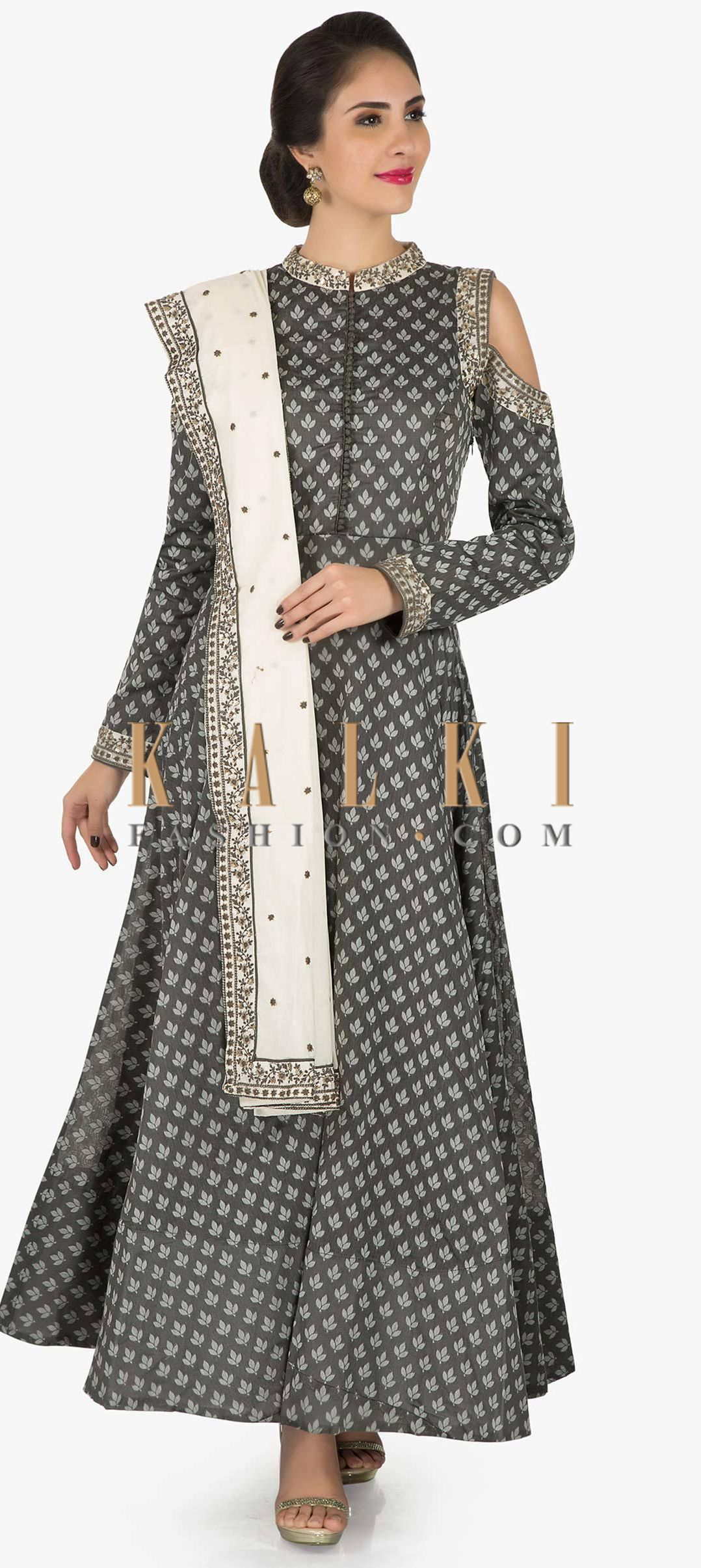 8883c754bc5 Grey silk suit beautified in resham embroidery work only on Kalki ...