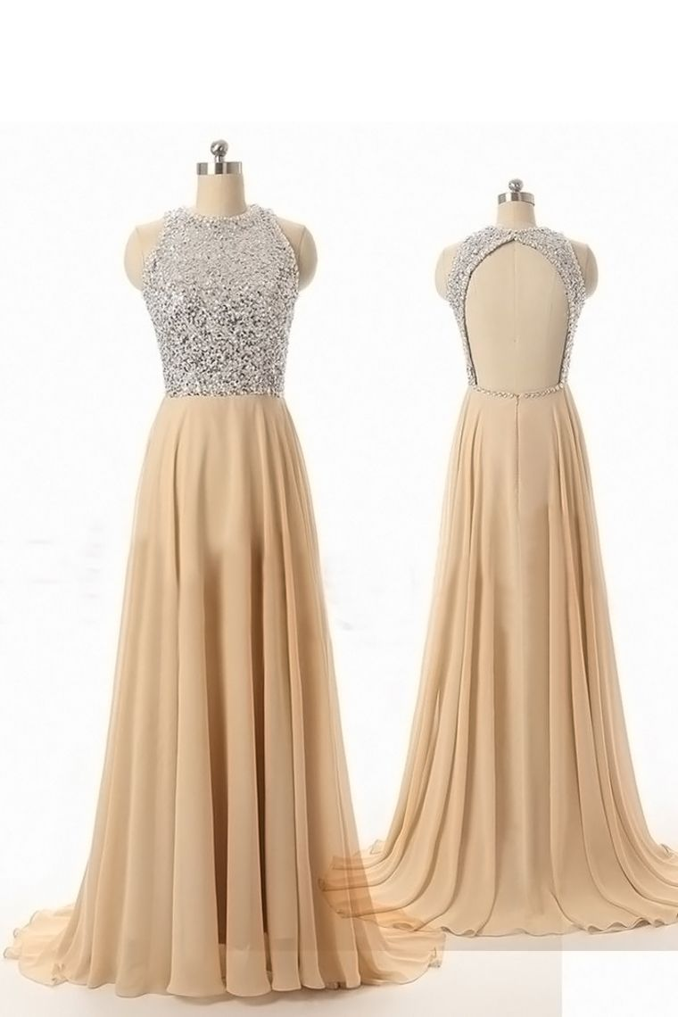 Custom prom dressevening dressa line prom dressround neck prom