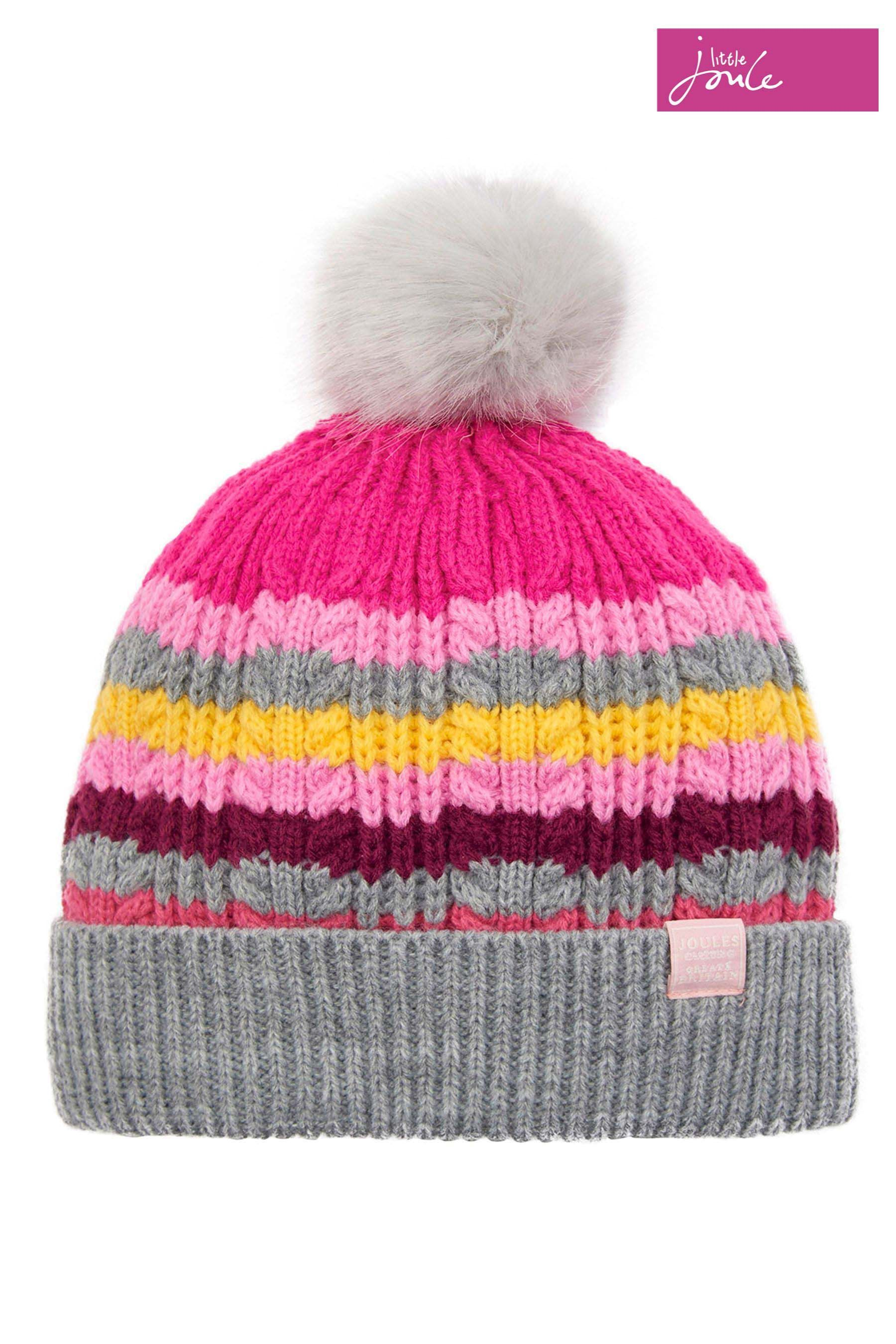 a2e1b952807 Girls Joules Multi Stripe Knitted Bobble Hat - Grey