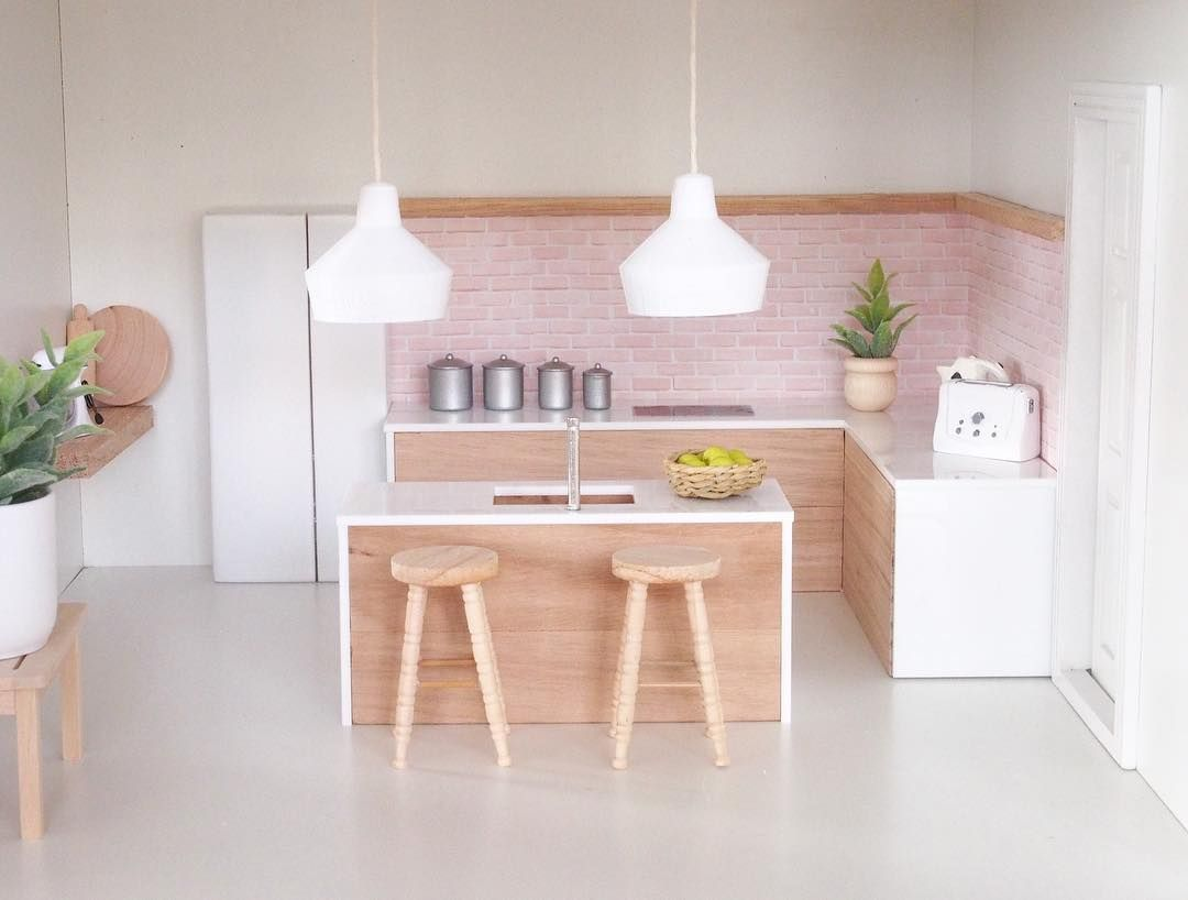 "Calevie on Instagram: ""Kitchen vibes our Beautiful Tassie oak kitchen with pink brick splashback by @pickawall when only the finest quality will do all!…"""
