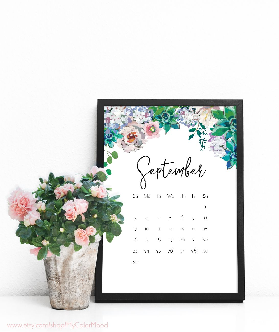 printable monthly calendar digital calendar download calendar printable calender wall