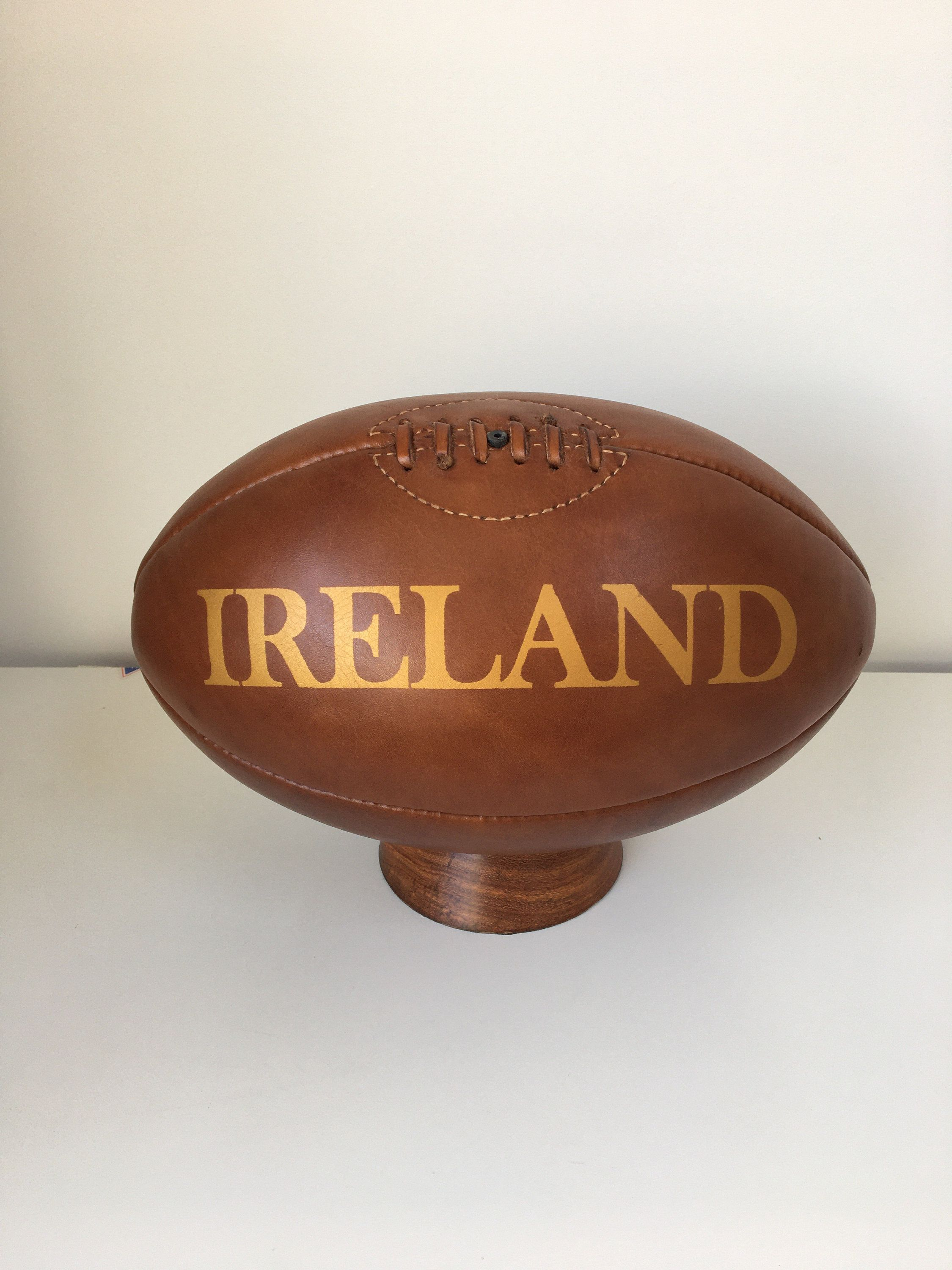 Rugby Vintage Ireland Rugby Ball With Wooden Plinth Leather Rugby Ball Gift For Men Teenager In 2020 Rugby Ball Rugby Vintage Vintage Ireland