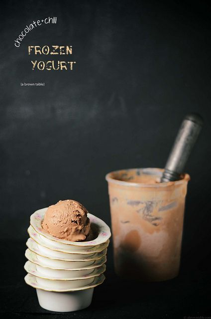 serving frozen chocolate chili yogurt by abrowntable, via Flickr