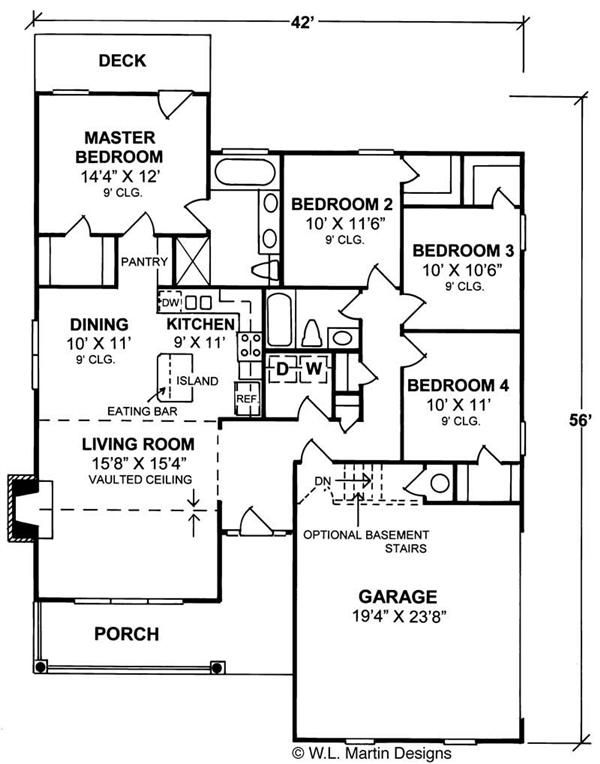 Country Floor Plan 4 Bedrms 2 Baths 1451 Sq Ft 178 1109 Country Style House Plans 4 Bedroom House Plans House Plans