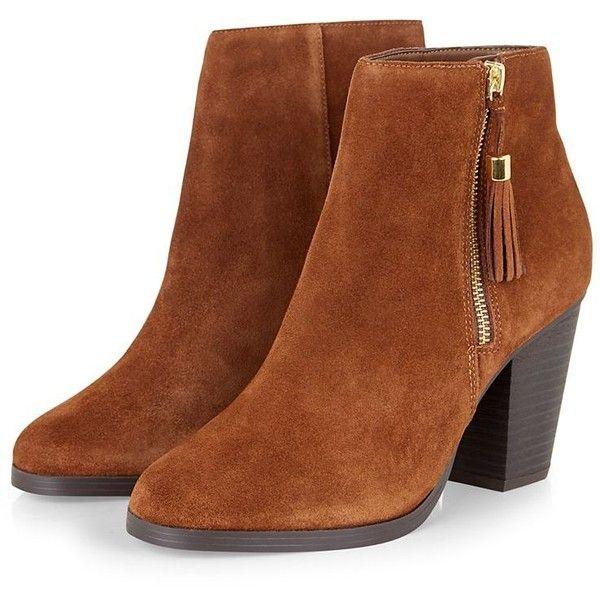 Tan Suede Tassel Side Zip Block Heel Boots (86 AUD) ❤ liked on Polyvore