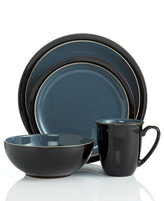 Denby Dinnerware Duets Black And Blue 4 Piece Place Setting Casual Dinnerware Dining Entertaining Macy S 4 Dinnerware Set Dinnerware Sets Dinnerware