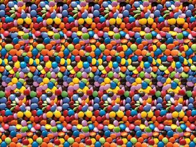 Lots Of Candy Sweets But What Else Can You See Magic Eye Posters Magic Eye Pictures Eye Illusions
