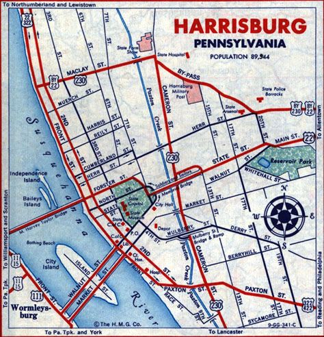 Harrisburg City Map End of US highway 230 Places to Visit