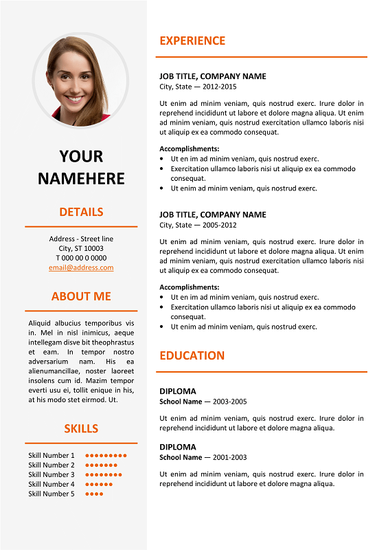 Ikebukuro Free Elegant Resume Template Orange For Ms Word Classic