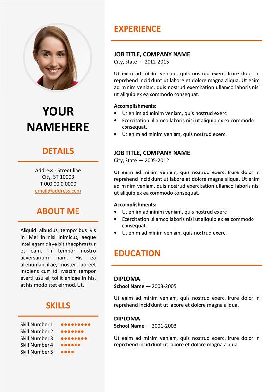 Ikebukuro Free Elegant Resume Template Orange For Ms Word Resume Design Template Free Creative Resume Template Free Free Resume Template Word