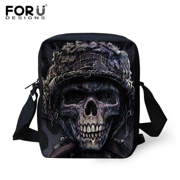 Famous Brand Canvas Men Messenger Bags Casual Small Shoulder Bag Vintage Punk Skull Printed Crossbody Bag Male Mini Travel Bag
