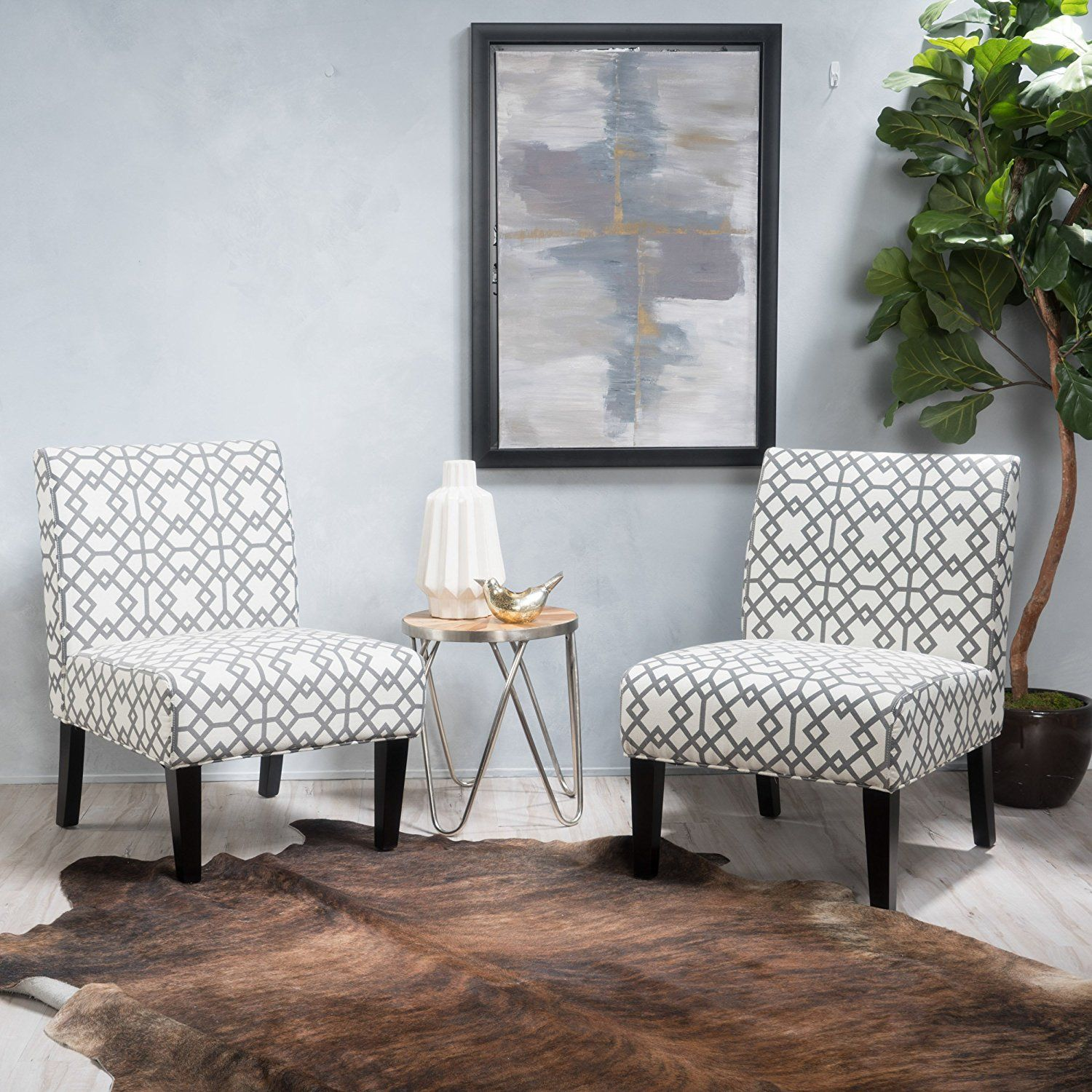 Kendal Grey Geometric Patterned Fabric Accent Chair | Chairs ...
