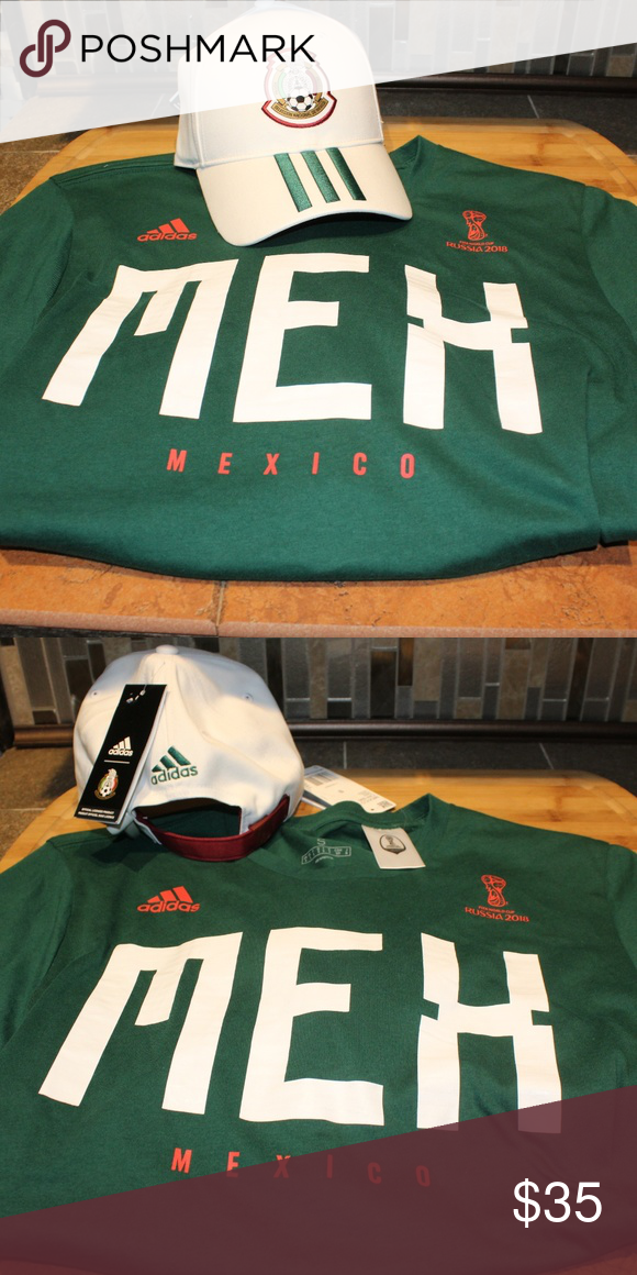 06f5172b Adidas Mexico Adjustable Strap Hat/T-Shirt Sz M New Adidas Mexico 3-Stripe  Adjustable Back Strap Hat White/Green Size-OSFM New And Men's Mexico  T-Shirt Size ...