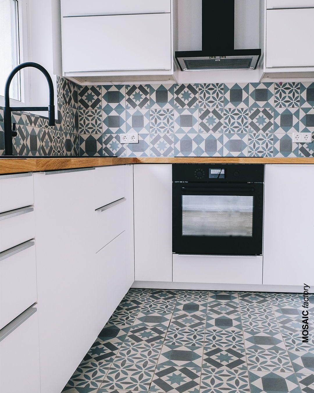patchwork tiles on backsplash