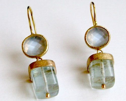 Rose cut blue moonstone set in 18 carat yellow gold with aquamarine 18 carat yellow gold drop.