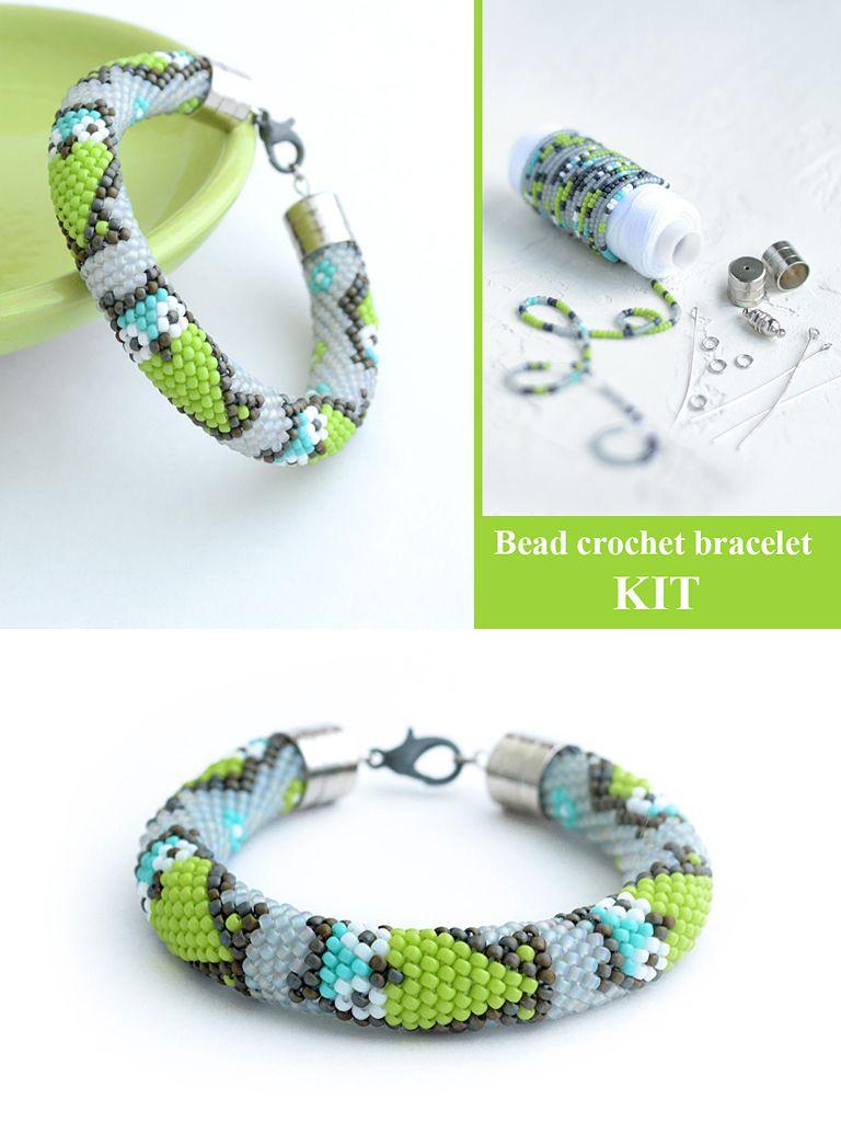 Bead Crochet Bracelet Kit Bracelet Making Kit Beaded Rope Pattern