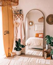 A mix of modern bohemian and industrial style from the middle of the   neutrale schlafzimmer ideen
