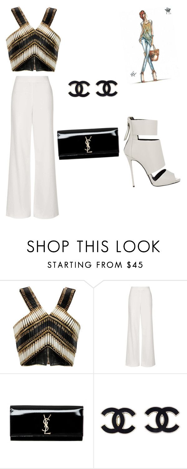 """Untitled #91"" by karllagerchic ❤ liked on Polyvore featuring mode, Balmain, Topshop, Yves Saint Laurent et Giuseppe Zanotti"