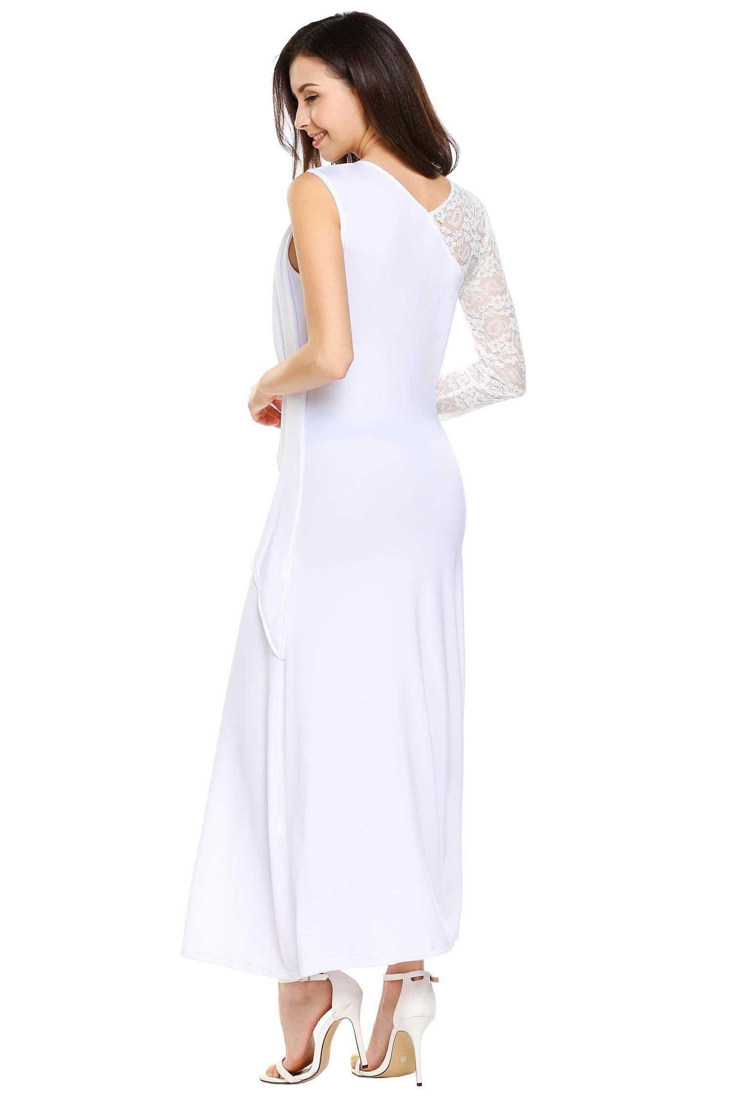 0fd6cdda41a00 Women Maternity Clothes - ANGVNS Women Sexy One Shoulder Long Sleeve  Bodycon Stretch Fit and Flared Midi Party Dress White L *** Take a look at  the picture ...