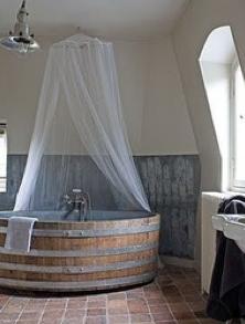 wine barrel as bath