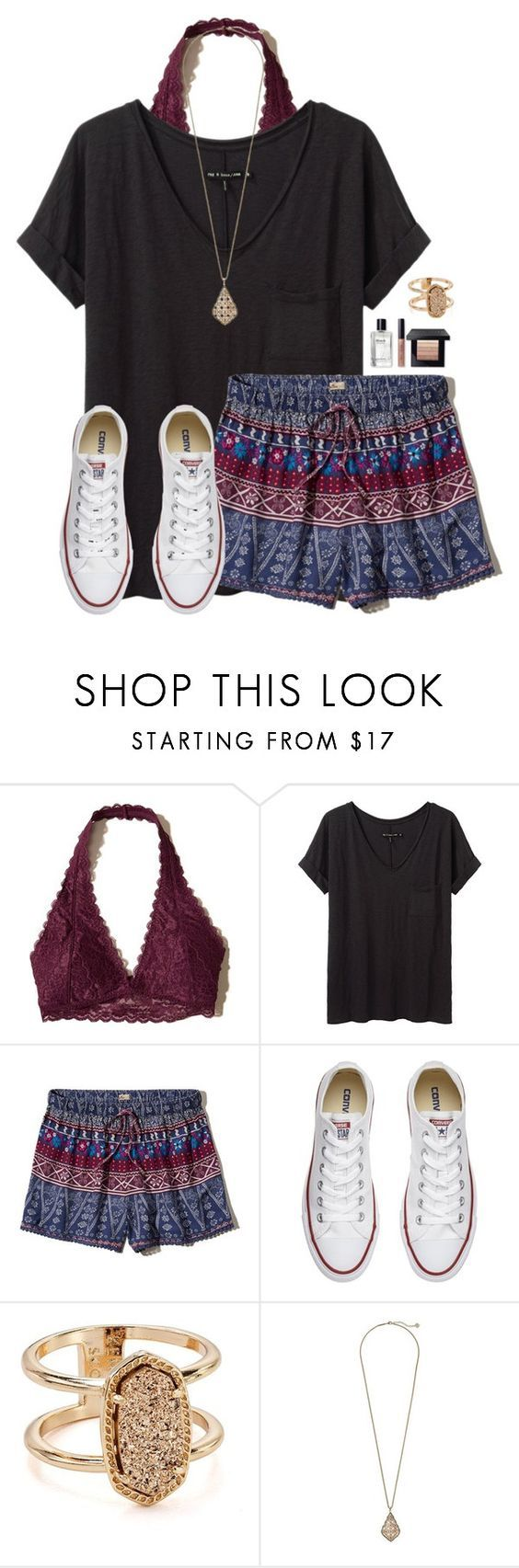 """""""I love sleeping in late"""" by victoriaann34 on Polyvore featuring Hollister Co., rag & bone/JEAN, Converse, Kendra Scott and Bobbi Brown Cosmetics"""