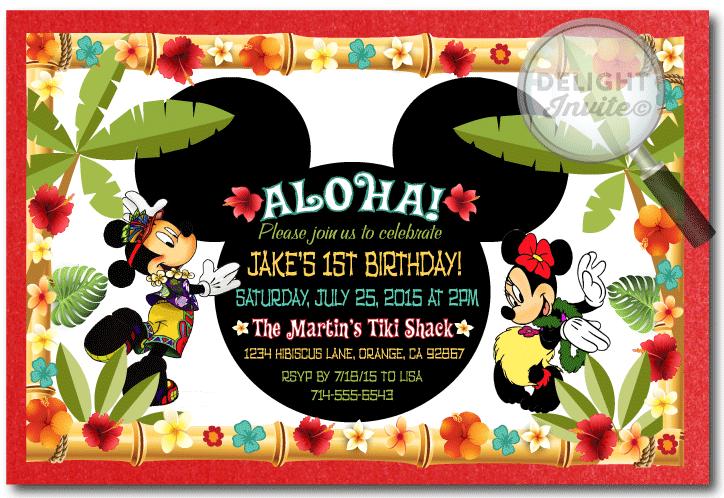 Mickey And Minnie Hawaiian Luau Birthday Invitations DI 354 Custom Announcements For All Occasions By Delight Invite