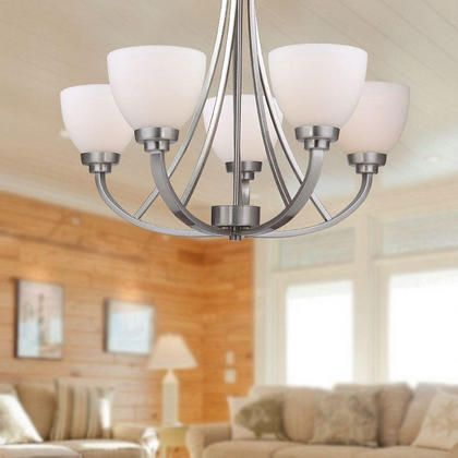 brushed nickel 5 lights chandelier modern style for bedroom living room dining room lightingbox 12055 - Brushed Nickel Dining Room Light