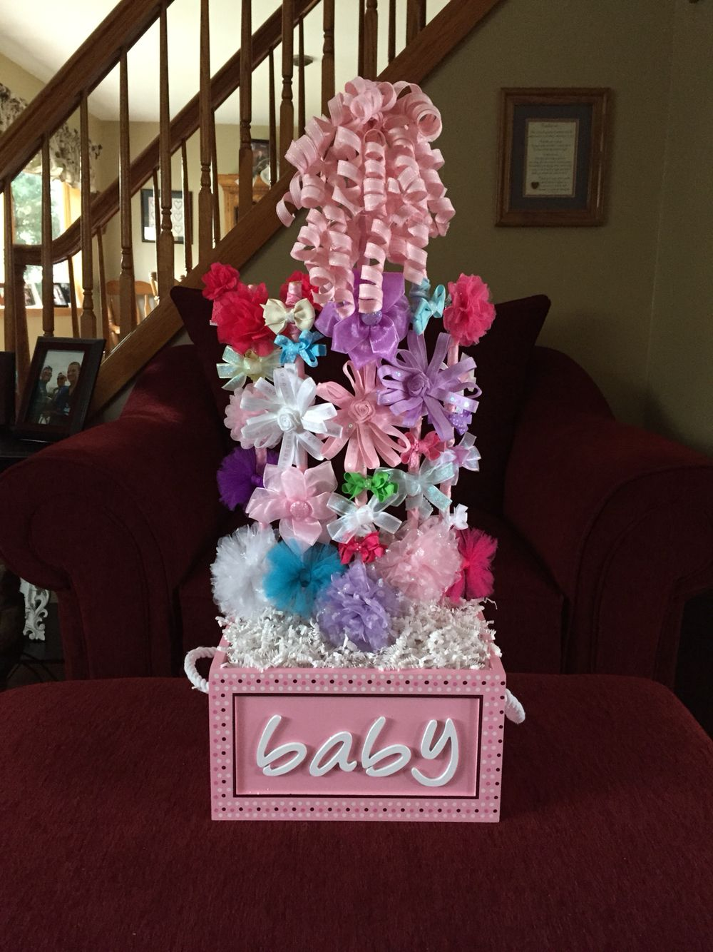 Baby shower gift, a bow bouquet.