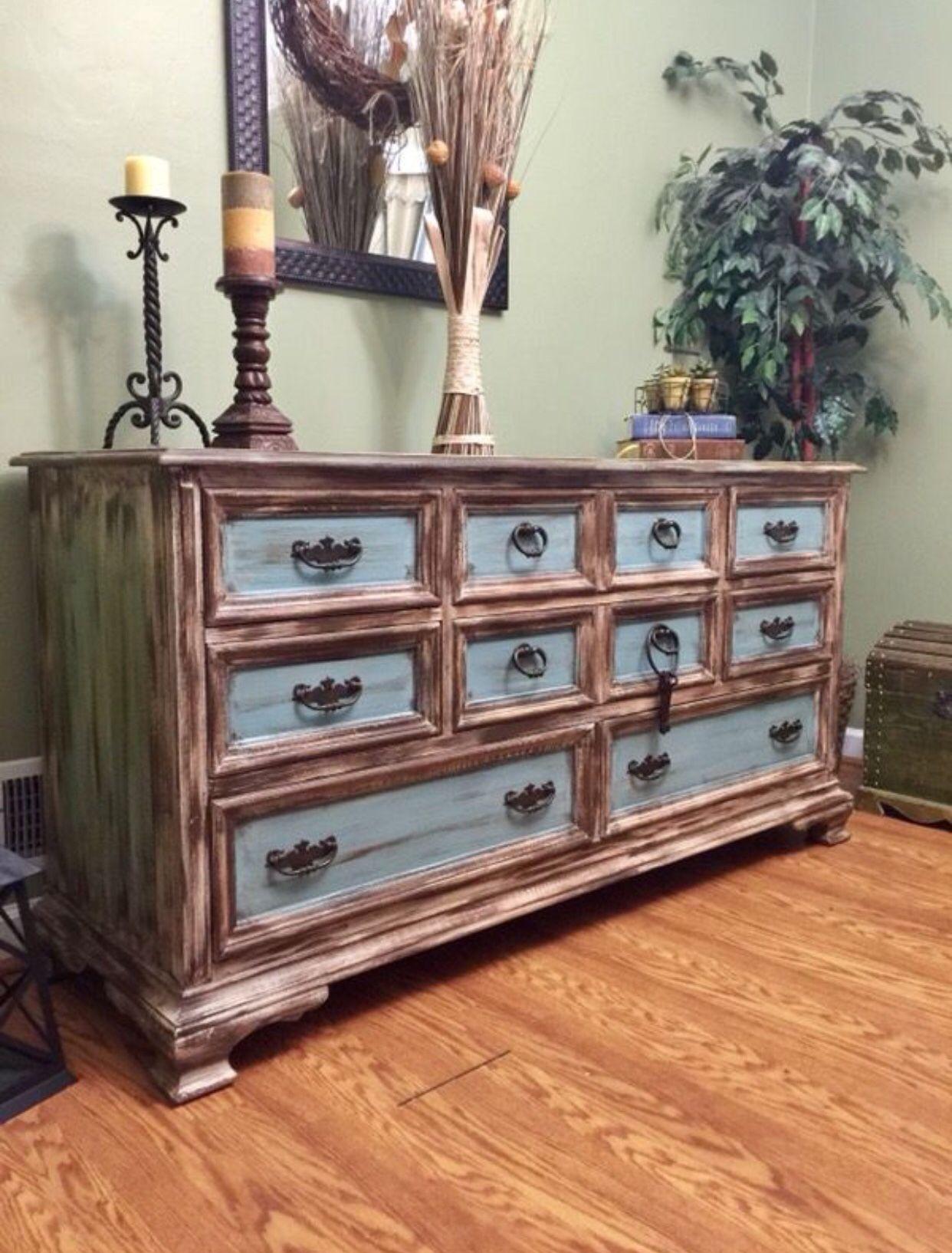 Distressed Dresser with blue, beige, brown | Distressed ...