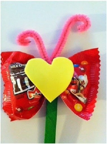 Valentines Day DIY Craft Ideas for Kids  Candy Wrapper Butterfly